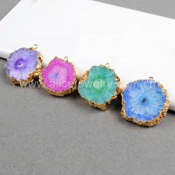 Natural Solar Quartz Geode Slice Druzy Gold Plated Bracelets Pendants Connector
