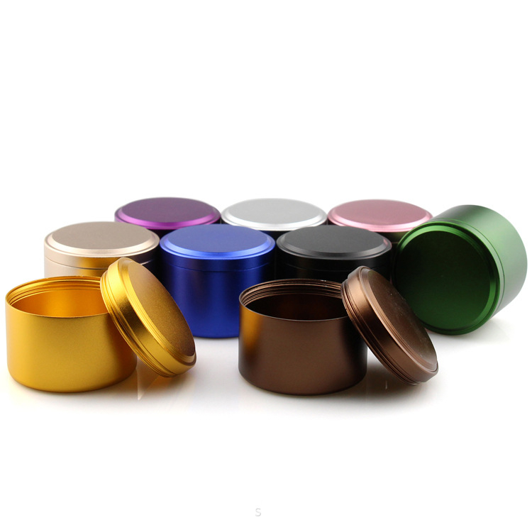 Recycled Pocket Canister Small Size Tea Package Round Shape Custom Logo Aluminum alloy Metal Tin Can