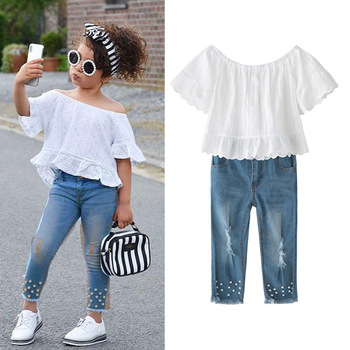 AiLe Rabbit 2018 New Children Clothes Ins Fashion Suits Girls White Lace Strapless Vest Tops Pearl Jeans 2pcs Sets Kids Clothing