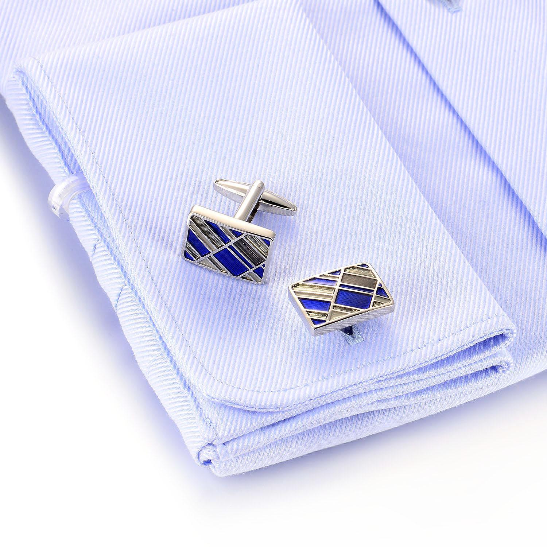 Classic Popular 925 Sterling Silver Cufflink Blue Rhodium Plated jewelry(图3)
