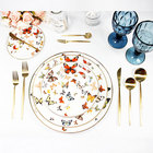 Artti Plato dish butterfly porcelain Round Color Butterfly Bone China dinnerware wedding porcelain dinner sets England