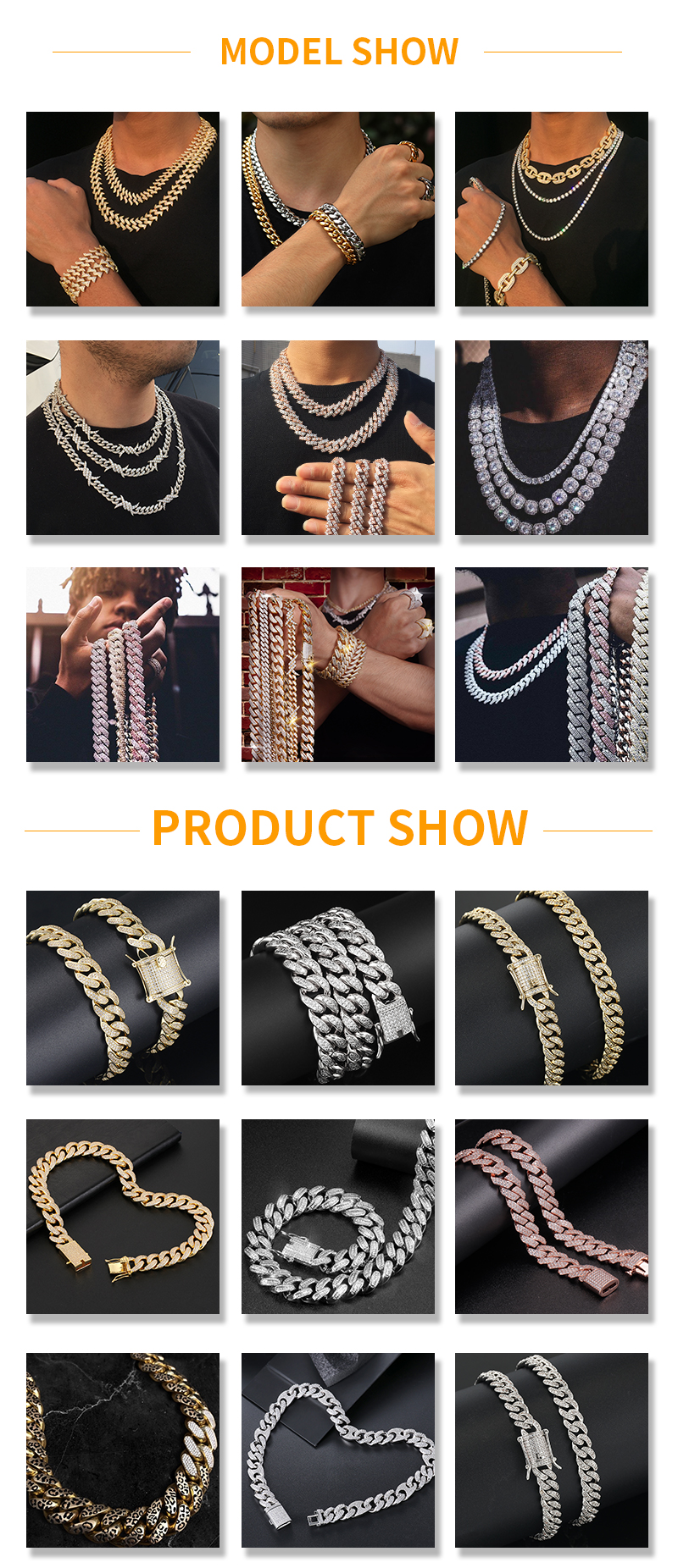 Miss Jewelry Hip Hop Men Women 14K 18K White Multicolor Gold Plated CZ Diamond Iced Out Cuban Link Chain Bracelet Necklace