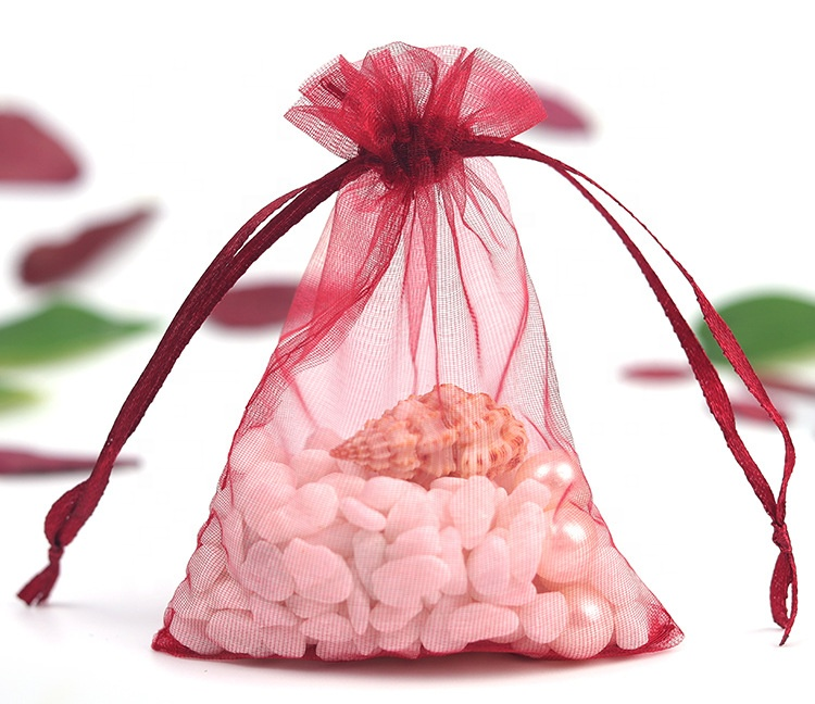 Wholesale customized pouch small gift bag Organza string pouch bags