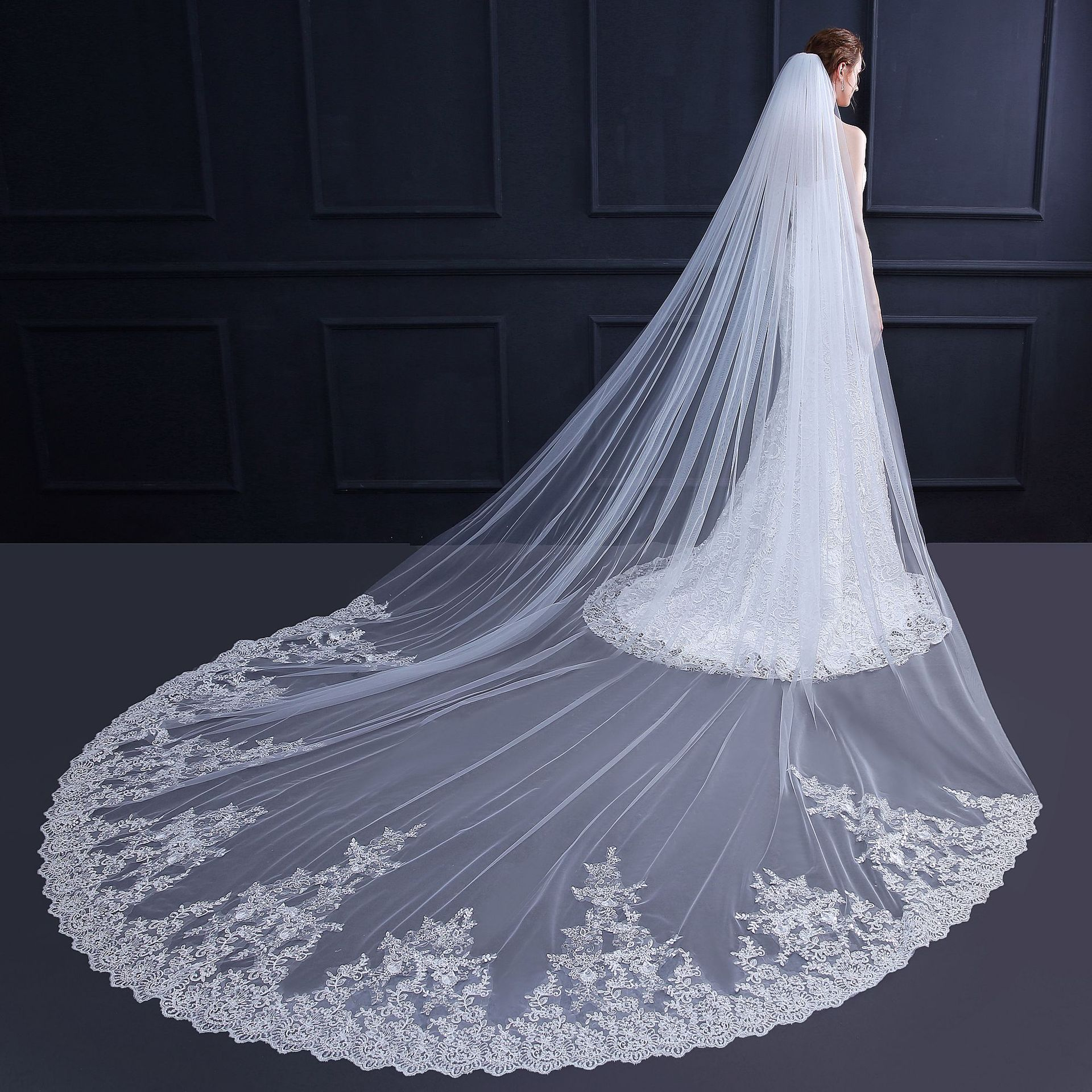 Bride veil Chapel wedding veil with sequined French lace sweeping bottom veil