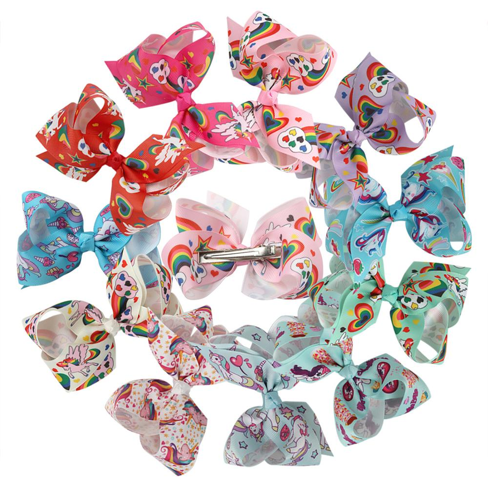 11 color 4.5 inch Jojo Hair Bow  unicorn bow children's colorful printed yarn ribbon hair bows with hair clip accessories