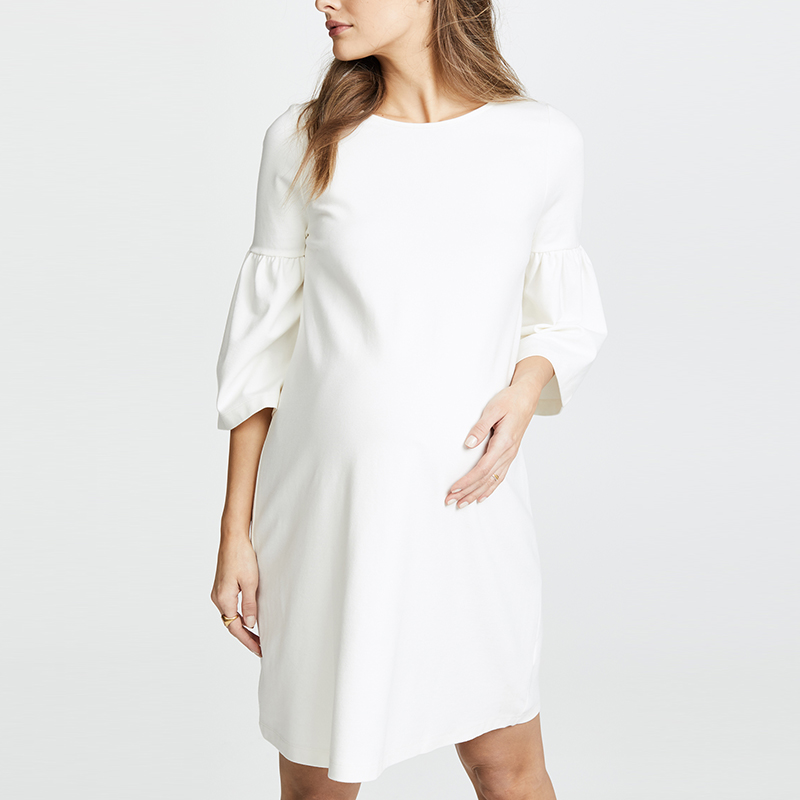 Women Apparel <strong>White</strong> Loose Bell Sleeve Casual Pregnancy <strong>Dresses</strong>