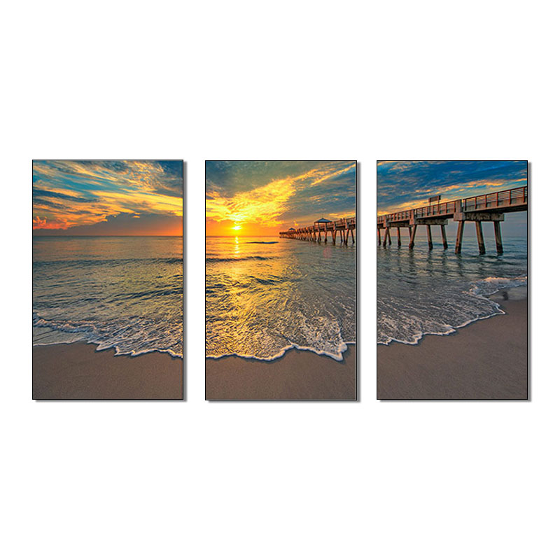 3pieces seascape sunset painting canvas wall art seawave <strong>picture</strong> for livingroom spray prints wholesale cuadros