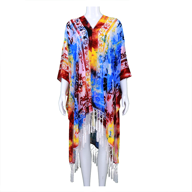 Colorful burnout velvet autumn kimono multi color kimono with crochet fringes tie dye high quality wearable ruana