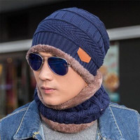 Wholesale Thick Fleece Winter Warm Knitted Hat Beanie Hat Scarf Set for Women and Men