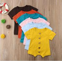 6 Colors Newborn Romper for 0-24M Solid Pink Blue Button Summer Cotton Newborn Jumpsuit Baby Girl Boy Romper Clothes