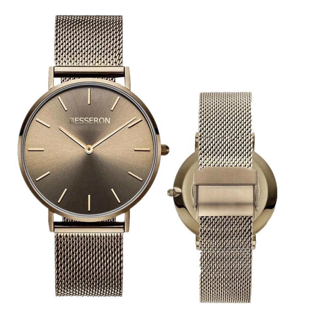 Fashional personalizado marca OEM relógio senhoras relógio minimalista 316L aço inoxidável quartzo relógio de pulso das mulheres