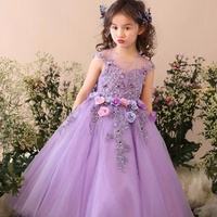 Garden Purple Girls Pageant Dress With Bow 3D Flowers Ball Gown Ankle Length Hand Made Flower Flower Girl Dresses