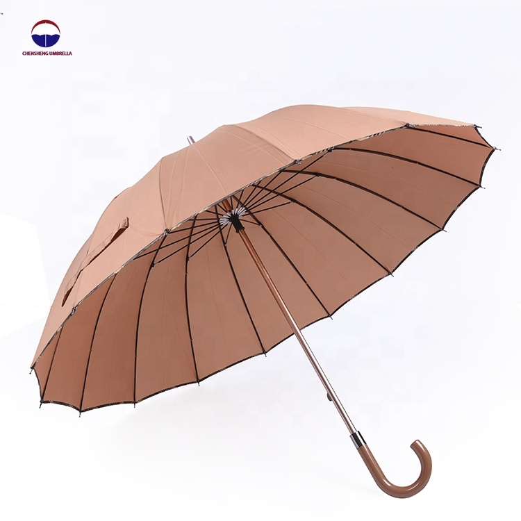 Wholesale windproof strong luxury cheap manual open golf straight umbrella 16 ribs