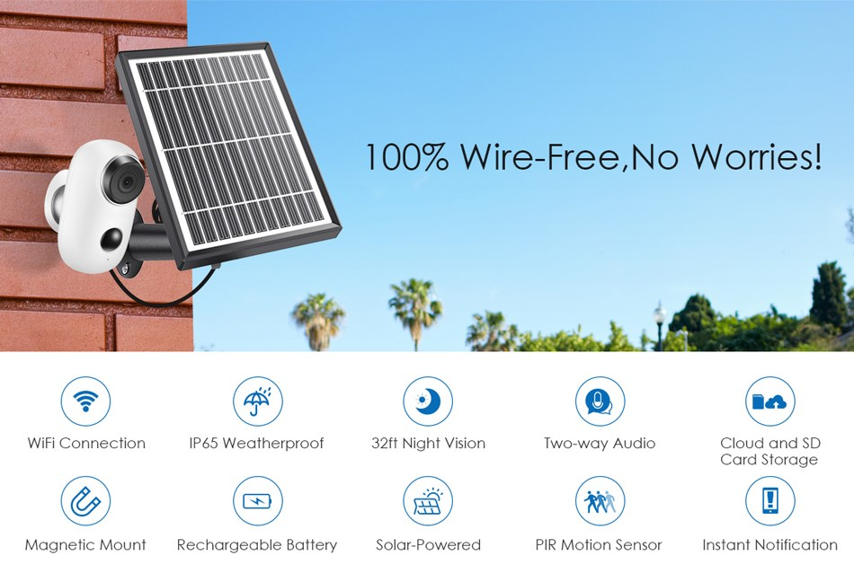 Solar Powered wireless outdoor waterproof 1080P HD video cam 2-way audio talk WiFi home security camera