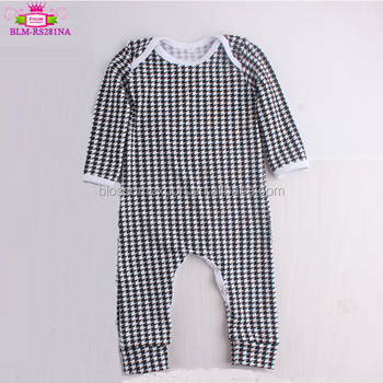 Baby boys girls romper print houndstooth toddler long sleeve cotton infant sleepsuit baby pajamas