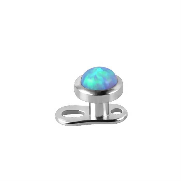 Piercing microdermal plat opale bleue