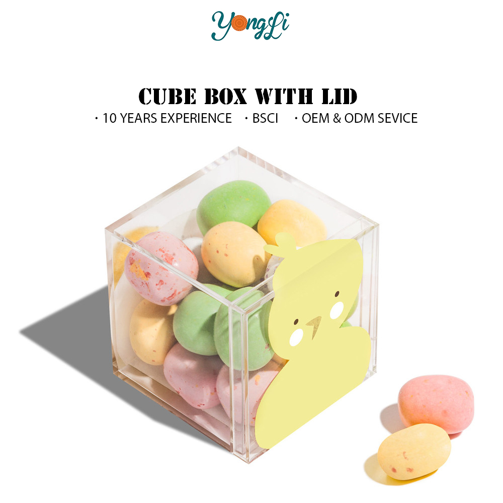 Chinese New Year Gift Wholesale Clear Acrylic Filled Cube Shaped Plastic Candy Box