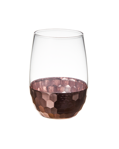 stemless embossed double wall wine glass tumbler cup