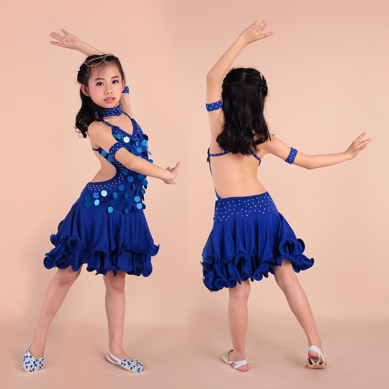Wholesale factory price sequins hot drill children girls latin dance dresses for sale