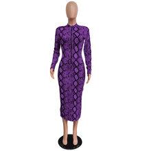 Женское облегающее платье со змеиным принтом Echoine, длинное платье на молнии с длинным рукавом, винтажное вечернее платье для вечеринки(Китай)