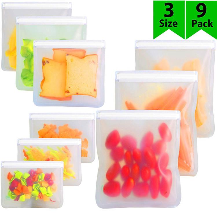 מזון כיתה לשימוש חוזר ZipLock כריך תיק PEVA חטיף מזון אחסון שקיות עם מיחזור