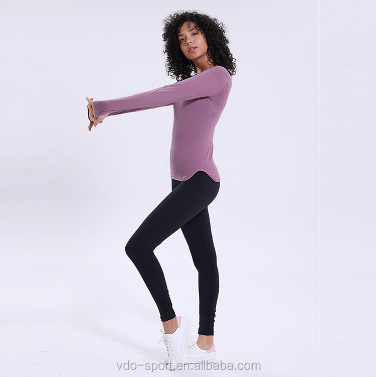 Active Wear Long Sleeve Yoga Tops 2020 Customised Pink Color T Shirt for Women Fitness