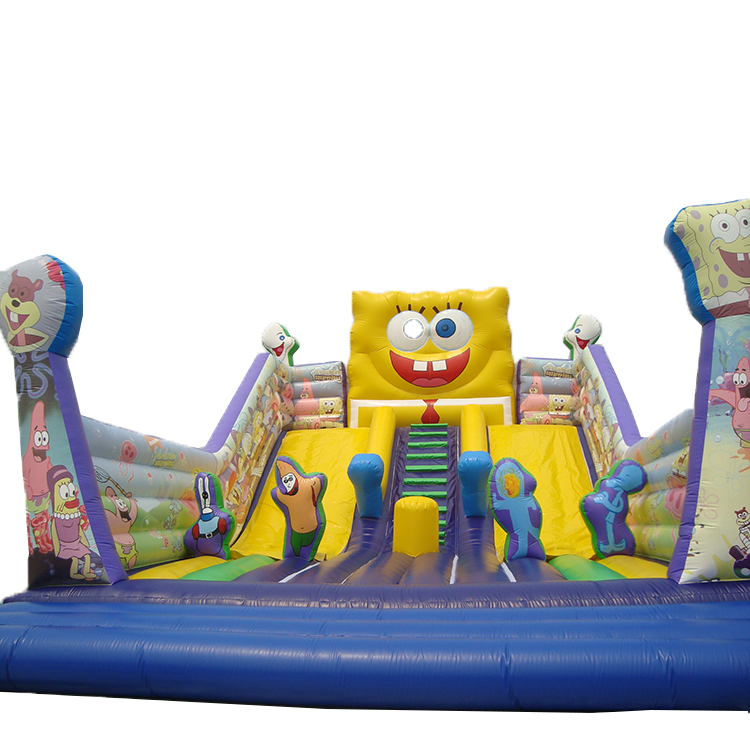 Customized Sponge Cartoon Theme Inflatable Jumping Bouncy Slide Inflatable Slide For Party