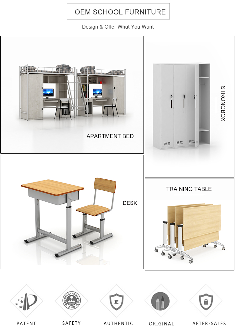 High quality height adjust students modern metal school desk and chair