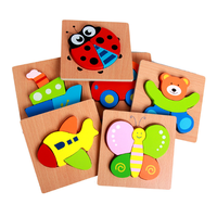 3D hot selling wooden educational cartoon animal puzzles for children