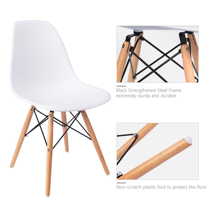 Classic Wood Leg Restaurant PP Plastic  Dining Chair