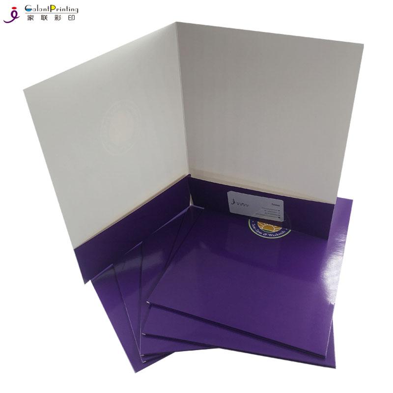 2 pockets custom paper file presentation folder for file and business card