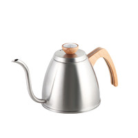 Highwin Factory 1.2L Wood lid and handle Stainless Steel Drip Kettle Pot Coffee Pour Over