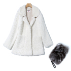 Wholesale In Stock Winter Women Fashion White Wool Blends Medium Long Peter Pan Collar Warm Woolen Coat
