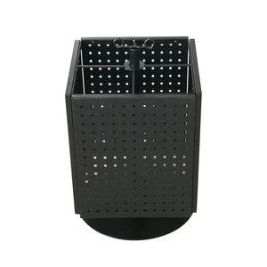 Pegboard 4-Sided Revolving Counter Display Metal Black Solid Pegboard