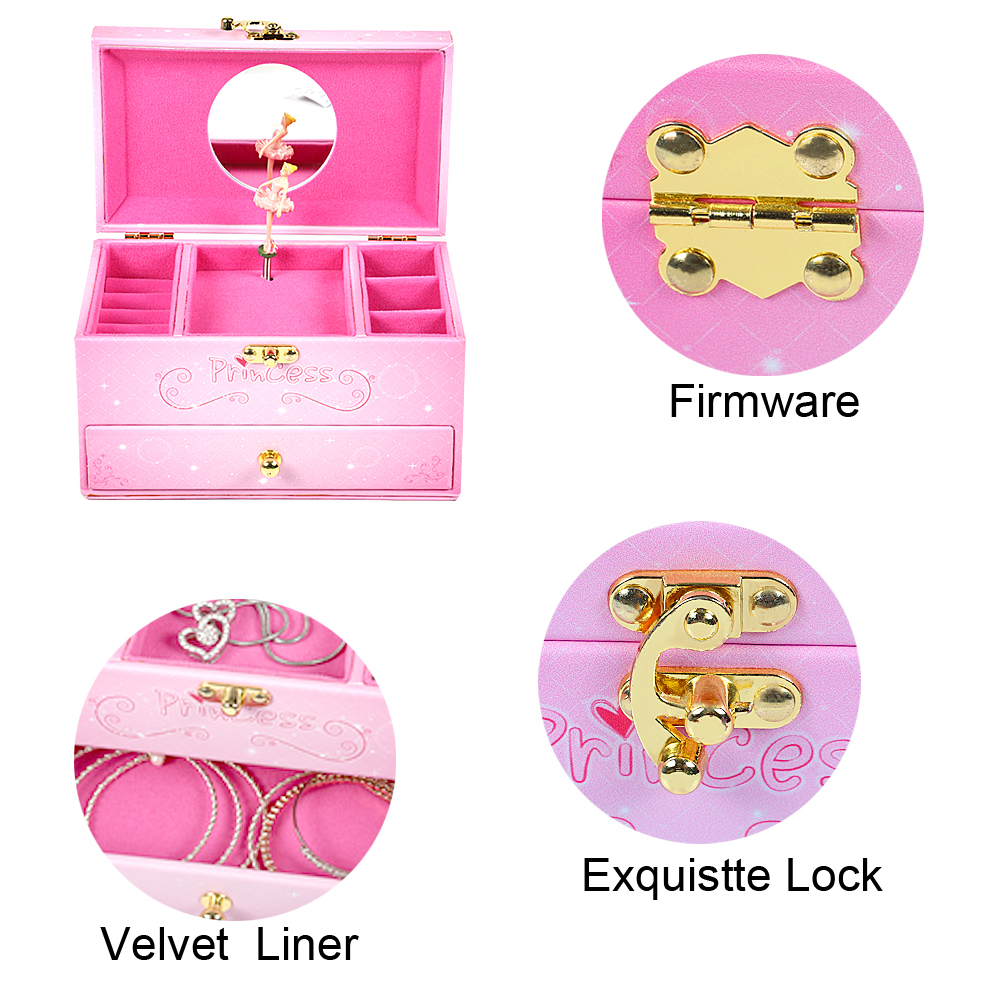 Dongguan supplier new design leather wooden musical pink three layers jewellery music box