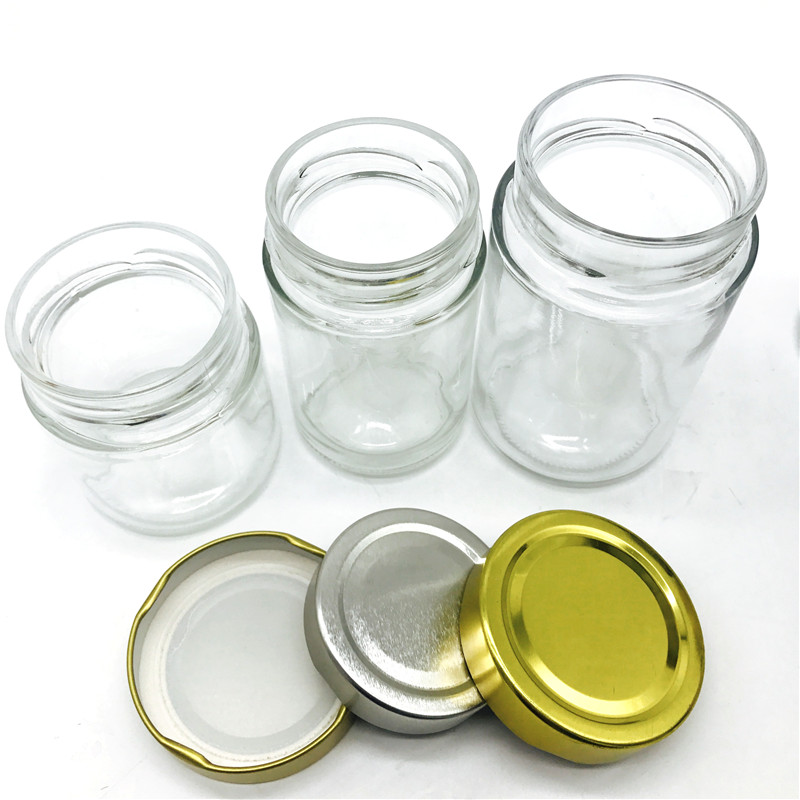 3oz 6oz 8oz 12oz 16oz sealed round glass jar manufacturers with deep metal lid in stock