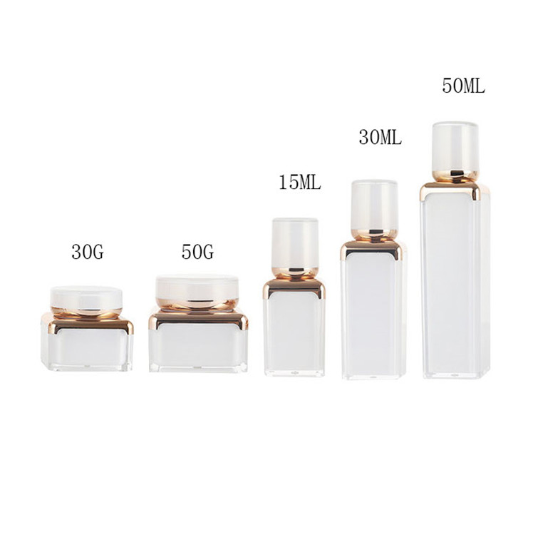 Luxury rounded square acrylic cosmetic packaging bottle& plastic cosmetic cream jar 30ml 50ml 100ml 30g 50g plastic spray bottle