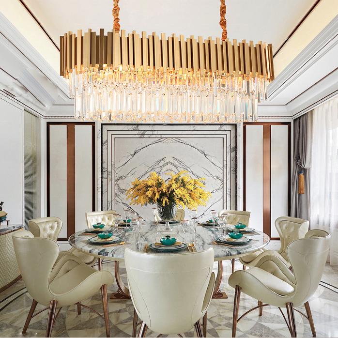 Modern luxury Living Room light hotel villa led lamp large round ceiling mounted lighting k9 pendant lights crystal chandelier