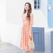 Летнее платье с коротким рукавом в японском стиле, с принтом в виде маленьких белых цветов, inman, 2020(Китай)