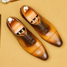 Мужские кожаные туфли; Деловые модельные туфли; Мужские брендовые туфли из натуральной кожи Bullock; Черные свадебные мужские туфли на шнурках;...(Китай)