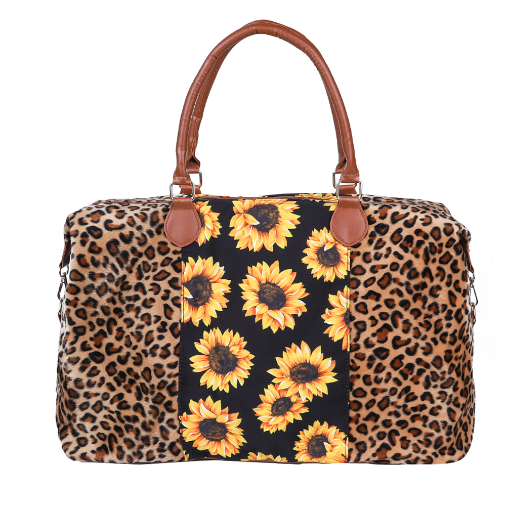Free Shipping Leopard Sunflower Women Weekender Travel Bag Lady Large Canvas Duffel Tote Bag Monogram Overnight Bag For Girls, Serape&leopard,leopard,rainbow,sunflower,etc.