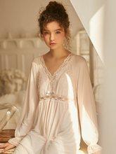 Новые винтажные Хлопковые женские длинные ночные рубашки с длинным рукавом, милое белое кружевное Королевское Ночное платье принцессы с гл...(Китай)