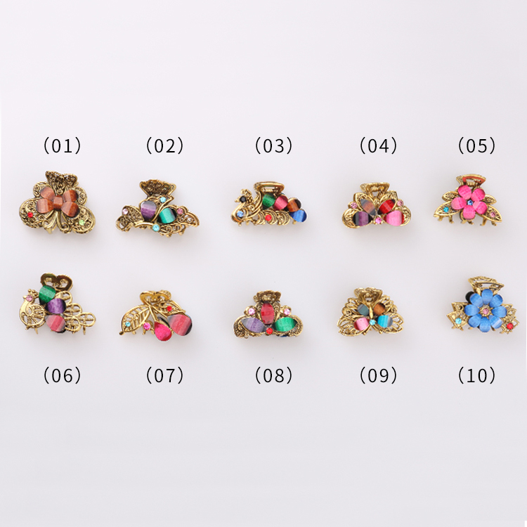 SAF 2020 South Korea Fashion Alloy Color Diamond-encrusted Butterfly Flower Women Accessories Gold Hair Claws