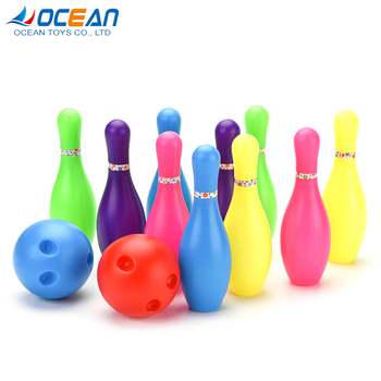 Kids coloured plastic toy bowling pin set for baby bowling game