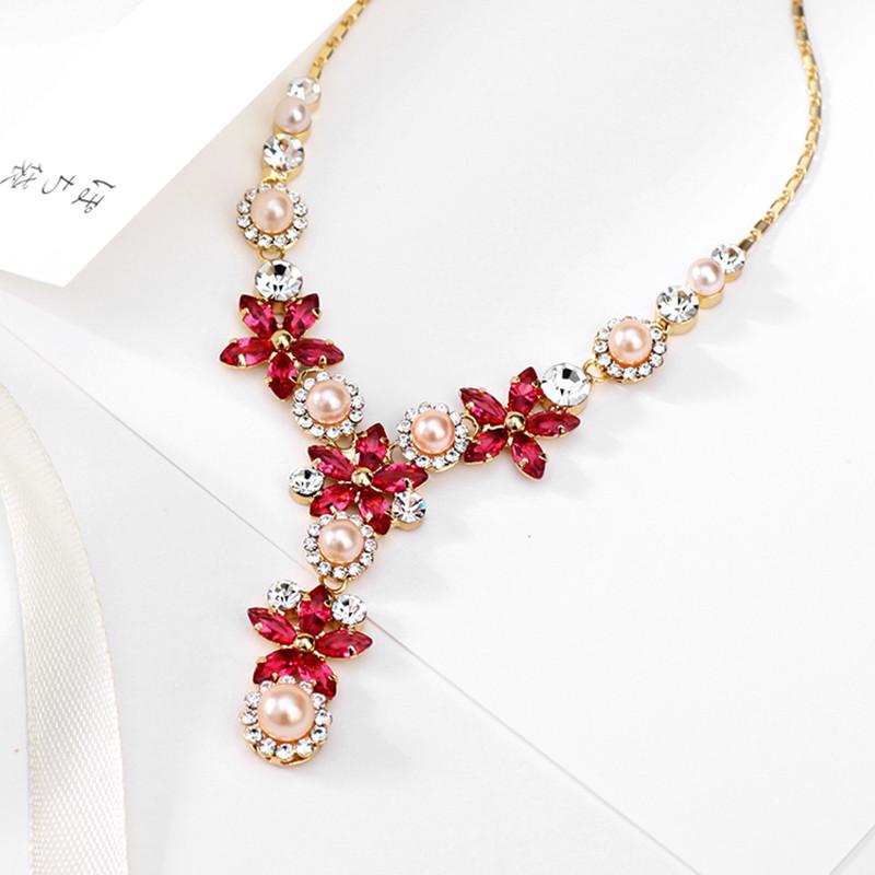 Boho Vintage Plaqué Or Diamant Coloré Déclaration Pendentif Perle Collier De Fleurs En Cristal