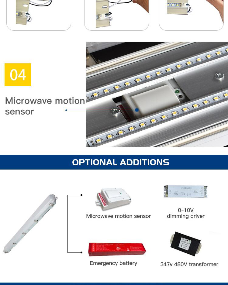 Garage warehouse occupancy motion sensor emergency battery backup ip65 led vapor tight fixture