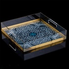 Acrylic Square Serving Tray Middle Eastern Large Square Gold Acrylic Serving Tray with Handles
