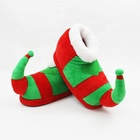 Christmas Elements Red Green Unisex Plush Booties Cotton Comfortable Christmas Male Slippers