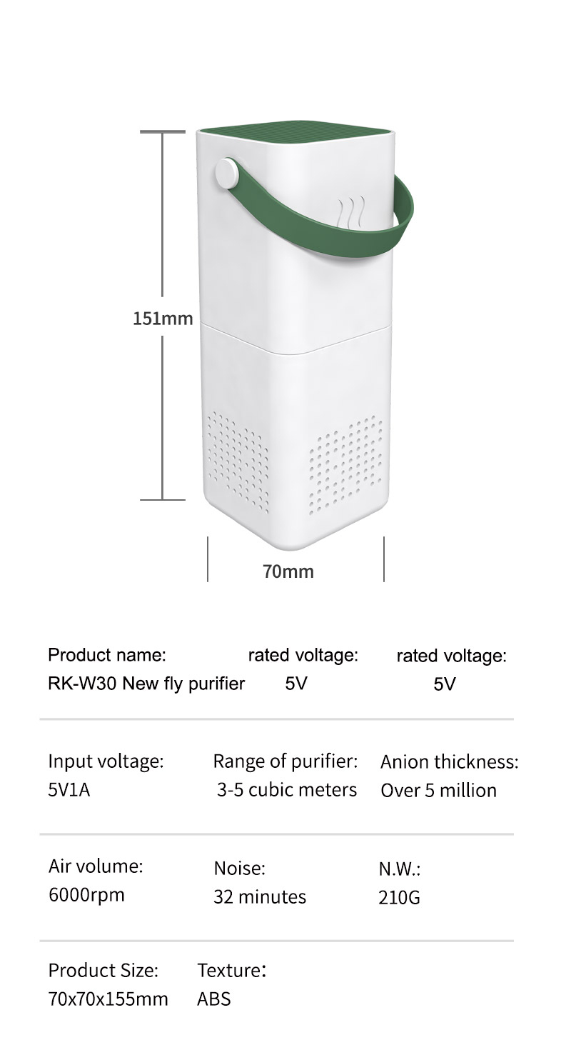 Mini USB air Purifier with High Efficiency and Carbon Filter for Small Room and Home smoke removing,RK-W30