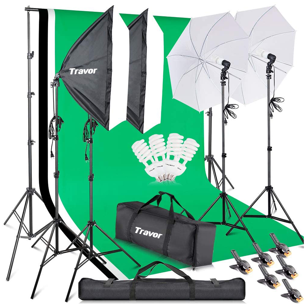 LS2200 continous lighting umbrella soft box pro photography light set 50x70 softbox with lamp holder for photography lighting